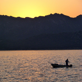 Laurie Delaney: 'Catching Dinner', 2011 Color Photograph, Landscape. Artist Description: Sunset, boat, France, sunset silhouette. ...