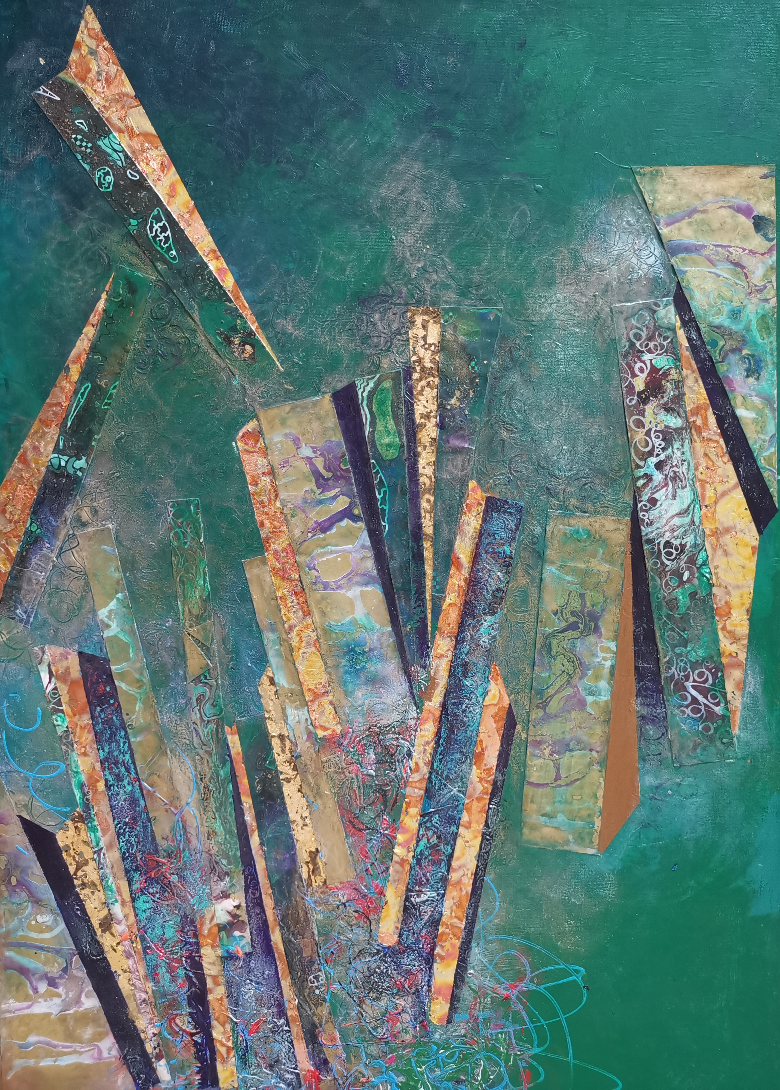 Lynda Stevens: 'Golden Columns on Green', 2015 Mixed Media, Abstract Figurative.   Mixed- Media Piece on Canvas         ...