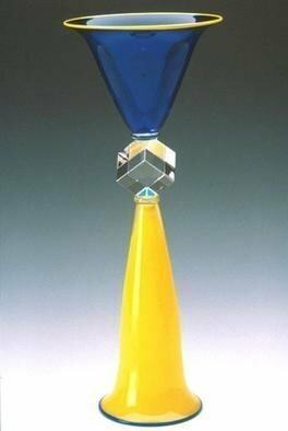 Lawrence Tuber: 'Cobalt and Yellow Double Cone Cube Sculpture', 2002 Blown Glass, Abstract. Blown and Cold worked Glass...