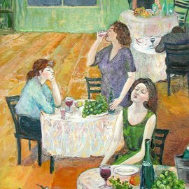 Lubov Meshulam Lemkovitch: 'Party', 2001 Oil Painting, People.