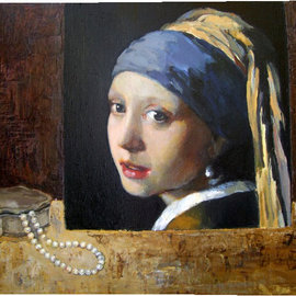 Lubov Meshulam Lemkovitch: 'Still iife with Vermeer', 2009 Oil Painting, Still Life.