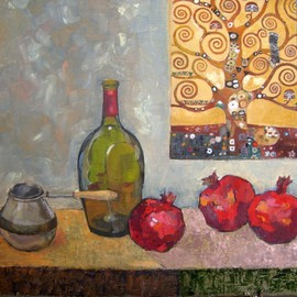 Lubov Meshulam Lemkovitch: 'Still life with Klimt', 2009 Oil Painting, Still Life.