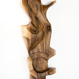 Blazej Siplak: 'head n 10', 2017 Wood Sculpture, Abstract. Artist Description: wood, sculpture, walnut, abstract, head, art, brown, woodcut...