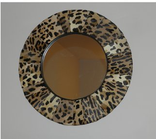 Evelyne Parguel: 'Round mirror with calfskin imitation leopard', 2014 Leather, Home.  beautiful round mirror made of scrapes genuine calfskin imitation leopard diameter 50 cm                    ...
