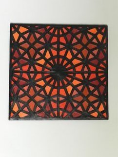Evelyne Parguel: 'Zellige decorative', 2016 Leather, Home.   beautiful wall leather decoration representing a moroccan zellige made of orange red brown lambskin recycling                            ...