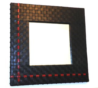 Evelyne Parguel: 'black and red authentic lambskin wall mirror ', 2014 Leather, Home. Artist Description:   Black and red authentic lambskin wall mirror              ...