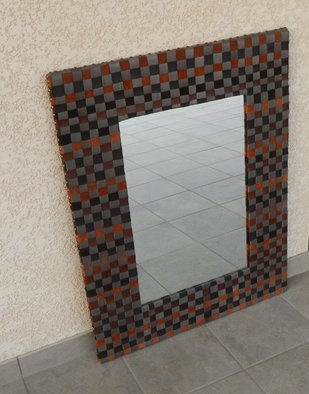 Evelyne Parguel: 'brown and grey leather mirror', 2013 Leather, Home. Artist Description:     brown and grey leather mirror    ...