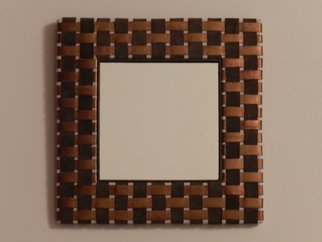 Evelyne Parguel: 'brown checkered mirror ', 2016 Leather, Home.     beautiful brown mirror  in veritable lambskin,                           ...