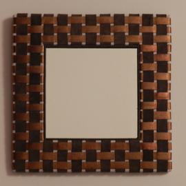 brown checkered mirror   By Evelyne Parguel