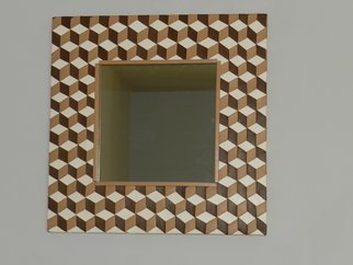 Evelyne Parguel: 'checkered mirror trompe l oeil', 2016 Leather, Home.     beautiful brown mirror  in veritable lambskin,                           ...