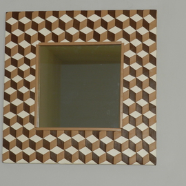 checkered mirror trompe l oeil  By Evelyne Parguel