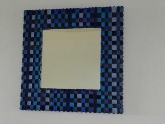 Evelyne Parguel: 'leather and mirror', 2013 Leather, Home. Artist Description:  blue leather and mirror ...