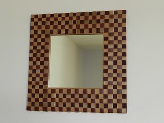 Evelyne Parguel: 'mirror  checkered', 2015 Leather, Home. Artist Description: beautiful mirror checkered burgundy marsala and dark beige veritable leather lamb and hairy calf ...