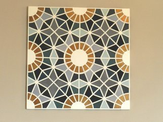 Evelyne Parguel: 'wall leather decoration', 2016 Leather, Home.  beautiful wall leather decoration representing a moroccan zellige made of blue white and copper lambskin recycling                           ...