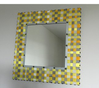 Evelyne Parguel: 'yellow leather mirror', 2013 Leather, Home. Artist Description:   yellow and grey leather mirror  ...
