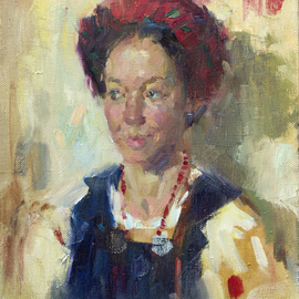Olexiy Luchnikov: 'smile', 2015 Oil Painting, Portrait. Artist Description:  Woman dressed in national ukrainian costume. A fast emotional work. ...