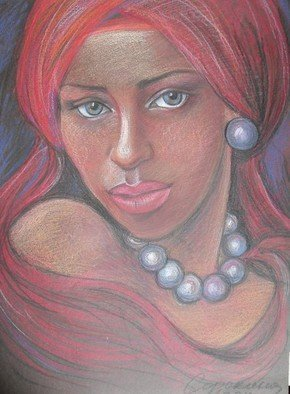 Ludmila Sorokina: 'black Pearl', 2014 Pastel, Portrait. Artist Description:  girl, beauty, pearls, portrait...