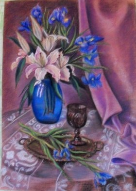Ludmila Sorokina: 'the scent of lilies', 2017 Pastel, Naturalism. Artist Description: Still life, lilies, graphics...