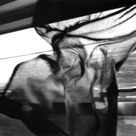Bernhard Luettmer Artwork Train Window, 2002 Black and White Photograph, Trains
