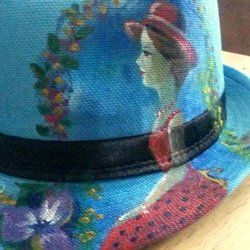 , Lady In Garden Art Hat, Botanical, $52