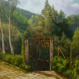 Luiz Henrique Azevedo: 'An Itaipava gate', 2013 Oil Painting, Interior. Artist Description: Former the first gate to surpass when we arrive in a lovely Itaipava house. ...