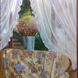 Luiz Henrique Azevedo: 'Itaipava', 2006 Oil Painting, Interior. Artist Description: The pleasure of life in a special season of a special year. A visit to Itaipava house and the beauty of the flowers in the window and in the quilt while the afternoon pass....