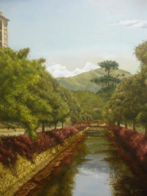 Luiz Henrique Azevedo: 'Petropolis view', 2007 Oil Painting, Cityscape. A view of the river that pass through the city of Petropolis beside the Imperial Museum....