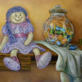 Luiz Henrique Azevedo: 'Rag doll', 2014 Oil Painting, Still Life. Artist Description: From the poem Boneca de pano by Jorge de Lima 1895- 1953a small rag doll waiting for a child to play, to live. ...