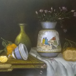 Luiz Henrique Azevedo: 'The chinese vase in my parents house', 2015 Oil Painting, Still Life. Artist Description: An old Chinese vase bought by my father as a present to my mother when I was a child. Is still there and I really appreciate the care of its elaboration. ...