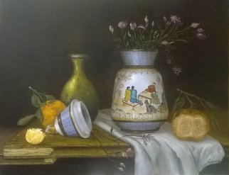 Luiz Henrique Azevedo: 'The chinese vase in my parents house', 2015 Oil Painting, Still Life. An old Chinese vase bought by my father as a present to my mother when I was a child. Is still there and I really appreciate the care of its elaboration. ...