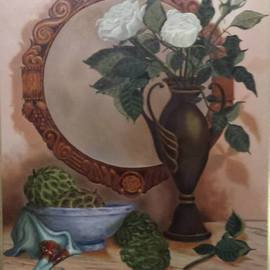 Luiz Henrique Azevedo: 'The three roses', 2002 Oil Painting, Still Life. Artist Description:  Roses and the mirror where we can see there.  ...
