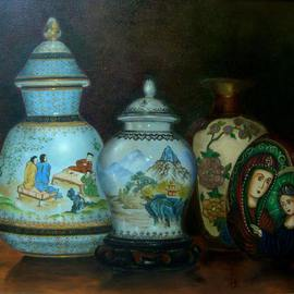 Luiz Henrique Azevedo: 'Vases', 2010 Oil Painting, Still Life. Artist Description: The chinese jars from my parents and my home jars....