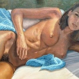 Luiz Henrique Azevedo: 'lying nude', 2019 Oil Painting, Nudes. Artist Description: A lying nude sun exposed depicted first in charcoal and then in oil painting over board. ...