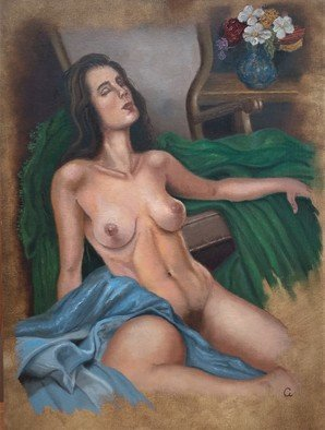 Luiz Henrique Azevedo: 'reclining nude', 2019 Oil Painting, Nudes. This picture is parte of a oil painting collection of oil painting scenes of womam nudes or not that challenge the beauty and harmony of colour flesh tones.  I work to make the viewers see a well done work, under the limits of my performance, not only art forms but ...