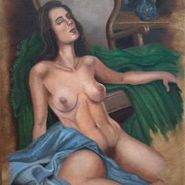 Luiz Henrique Azevedo: 'reclining nude', 2019 Oil Painting, Nudes. Artist Description: This picture is parte of a oil painting collection of oil painting scenes of womam nudes or not that challenge the beauty and harmony of colour flesh tones.  I work to make the viewers see a well done work, under the limits of my performance, not only art ...