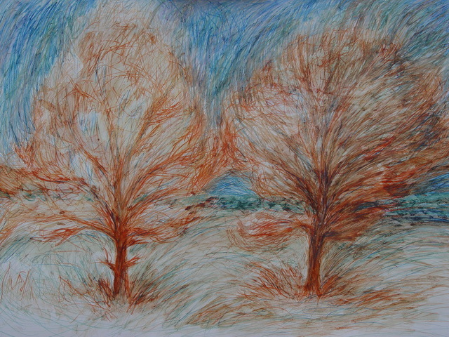 Viktor Lukashev  'Two Trees', created in 2008, Original Watercolor.