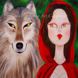 Mara Cardenas: 'Accomplices', 2007 Oil Painting, Humor. Artist Description:  Another version of Little Red Riding Hood and the Wolf. ...