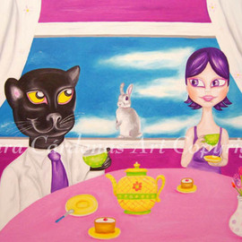 Mara Cardenas: 'Drinking Tea with Mr Panther', 2008 Oil Painting, Humor. Artist Description:  Drinking tea with a very good friend Mr. Panther ...
