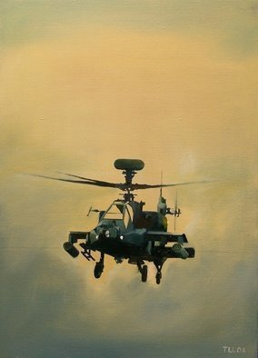 Tom Lund-lack: 'Apache Rising', 2008 Oil Painting, Aviation. Artist Description: I painted this because I was fascinated by its sinister shape it is just so brutally evil looking it can have only one purpose, which is why I have called it Killing Machine...