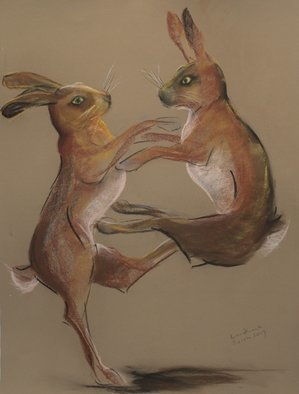 Tom Lund-lack: 'Boxing hares 1', 2017 Pastel, Wildlife. This drawing in pastel was one of several that I did in preparation for a commissioned piece. When a visitor bought one I took another look at the sketches and thought they were worth putting up on the web. ...