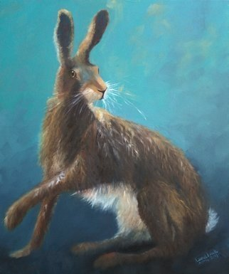 Tom Lund-lack: 'Brown Hare', 2017 Oil Painting, Wildlife. A Brown Hare alerted to danger and ready to go at any moment, difficult to photgraph and to draw. Created from several sketches and an original pastel drawing, which was a commissioned work. Painted on high quality canvas support. ...
