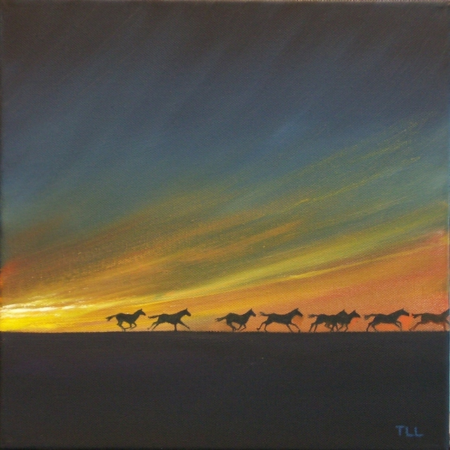 Artist Tom Lund-Lack. 'Dawn Silhouettes' Artwork Image, Created in 2008, Original Painting Ink. #art #artist