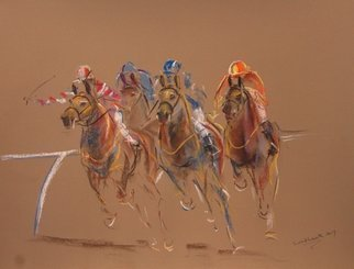 Tom Lund-lack: 'Energy 14', 2017 Pastel, Equine. Artist Description: Jackson soft and Rembrandt hard pastels on Mi- Teintes sand coloured 335 gsm touch pastel paper were used to create this vibrant image of horse racing. ...