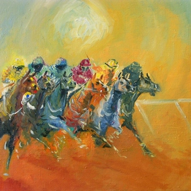 Tom Lund-lack: 'Energy 4', 2010 Oil Painting, Equine. Artist Description:    The fourth painting in a series exploring the ways in which horse racing can be rendered to capture power, energy and drama.  ...