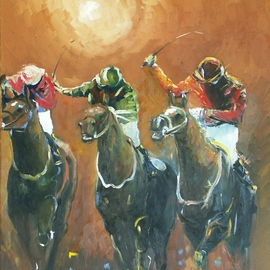 Tom Lund-lack: 'Energy 6', 2010 Oil Painting, Equine. Artist Description:  Number 6 in a series exploring ways in which the energy and drama of horse racing can be portrayed. ...