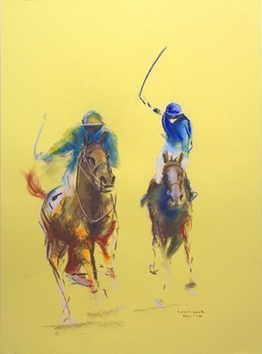 Tom Lund-lack: 'Energy 7', 2008 Pastel, Equine. Artist Description:  Pace, colour  movement of racehorse and jockey are the subject of these rapidly executed sketches using pastel on yellow paper. ...