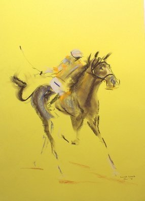 Tom Lund-lack: 'Energy 8', 2014 Pastel, Equine. Artist Description:   Pace, colour & movement of racehorse and jockey are the subject of these rapidly executed sketches using pastel on yellow paper.   ...