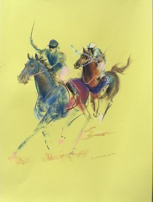 Tom Lund-lack: 'Energy 9', 2014 Pastel, Equine. Artist Description:  Pace, colour  movement of racehorse and jockey are the subject of these rapidly executed sketches using pastel on yellow paper. ...