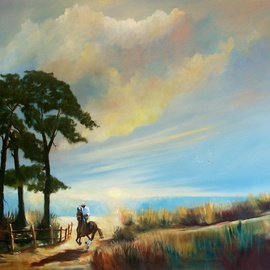 Tom Lund-lack: 'Evening Ride', 2010 Oil Painting, Landscape. Artist Description:     A painting gifted to West Suffolk Hospital who saved my life.   ...