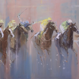 Tom Lund-lack: 'Everyone a Winner', 2015 Oil Painting, Equine. Artist Description:  Another dramatic painting of the power and athleticism of the thoroughbred. Called it Everyone a Winner as the result of this could be just that. Im looking for what makes the essesence of a horse race, the colour, speed and competetiveness. Oil on board ...